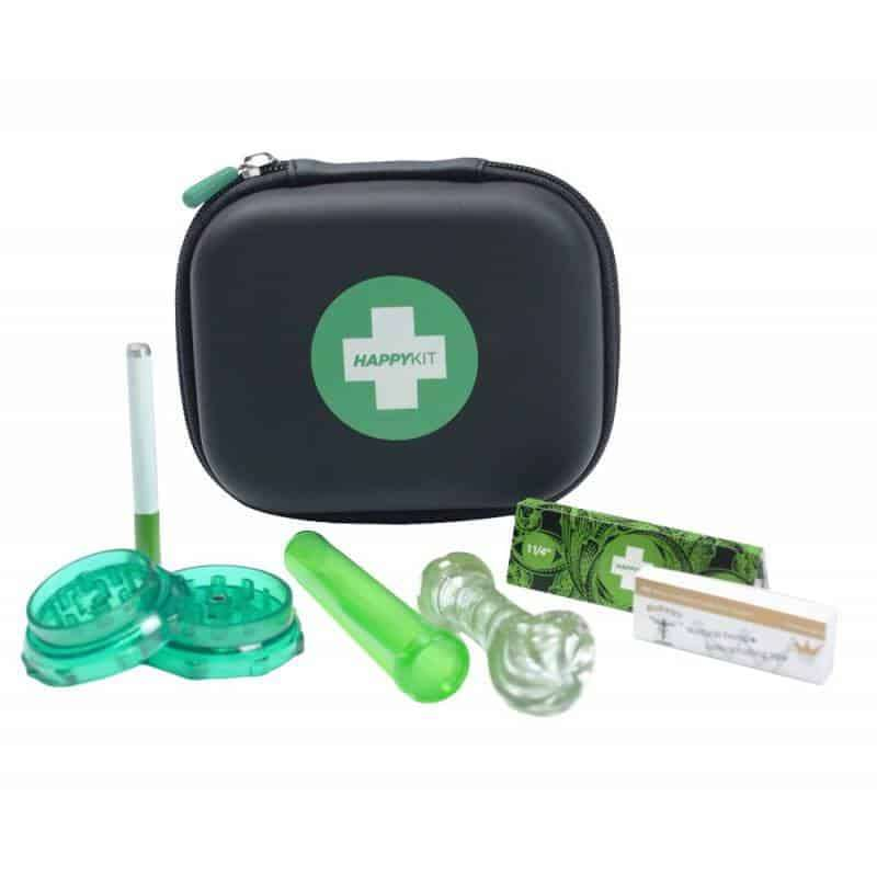 happy-kit-deluxe-w-glass-pipe-acrylic-grinder-herb-tube-cig-bat-125-papers-tips-all-in-a-carrying-case-
