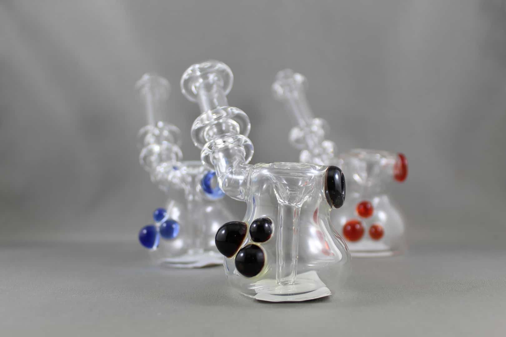 Man On Mars Clear Bubbler Water Pipe With Coloured Accents Retro